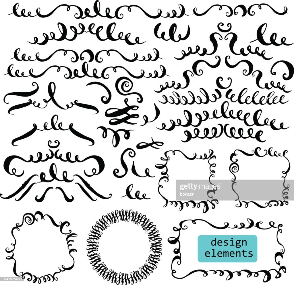 Set of hand drawn ink decorative elements and frames