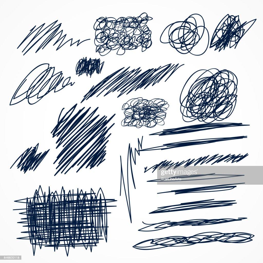 set of hand drawn ink pen scribbles