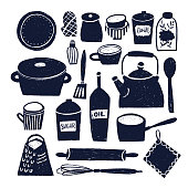Set of hand drawn kitchen objects isolated on white background.