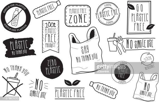 satz von handgezeichneten no plastic label designs in schwarz und weiß - plastikmaterial stock-grafiken, -clipart, -cartoons und -symbole