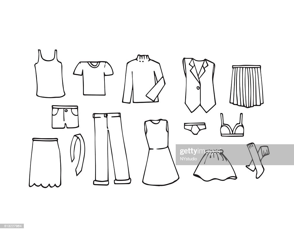 Set of Hand drawn of cloth or dress draw concept