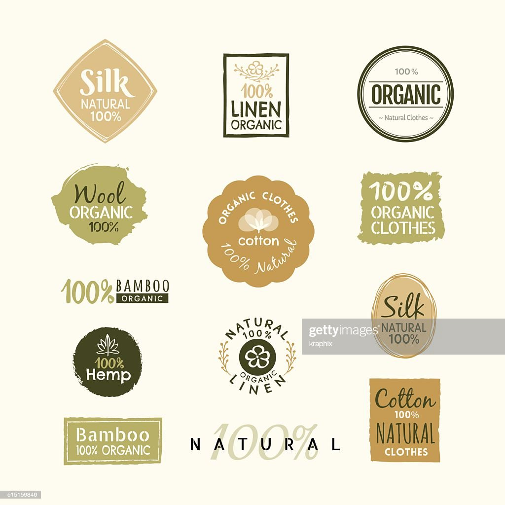 Set of hand drawn organic clothes logo label badge design