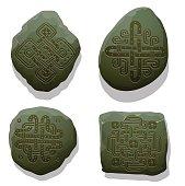 Set of hand drawn ornaments on dark green stiones