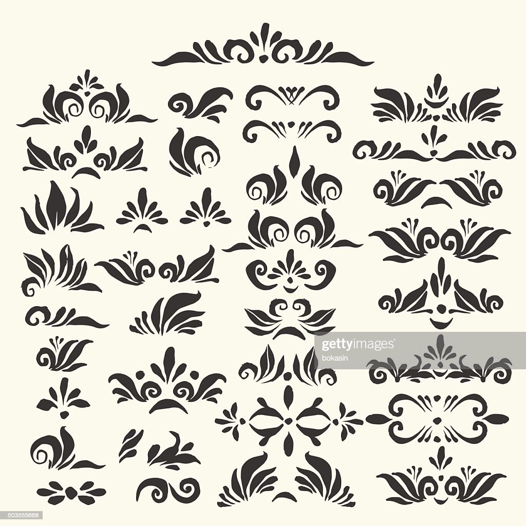 Set of hand drawn page decoration elements
