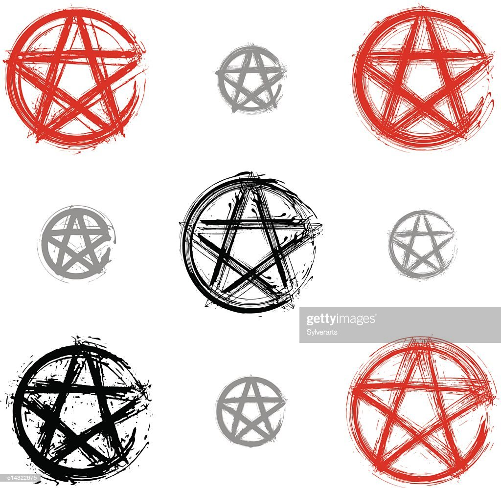 Set of hand drawn pentagram icons scanned and vectorized
