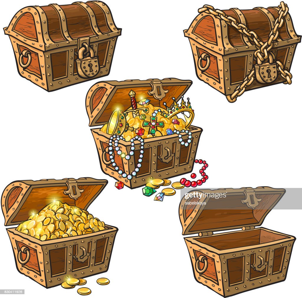 Set of hand drawn pirate treasure chests
