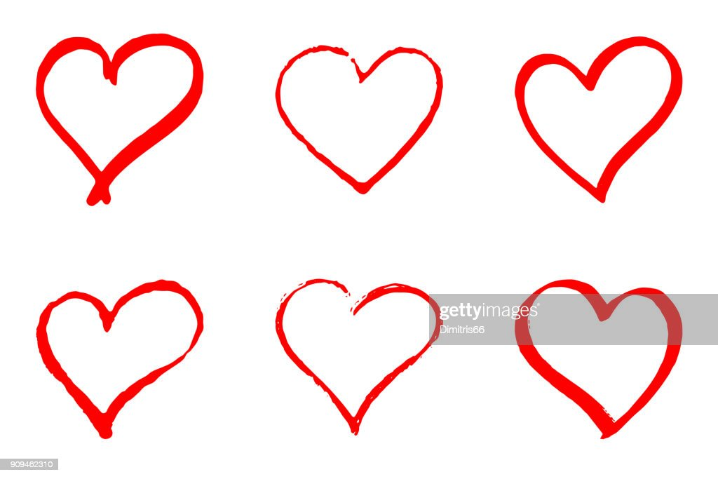 Set of hand drawn red vector hearts on white background : stock illustration