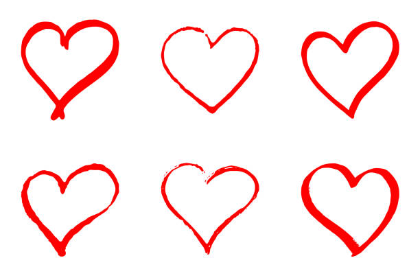 set of hand drawn red vector hearts on white background - heart shape stock illustrations