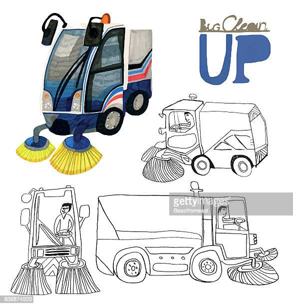 set of hand drawn road sweepers isolated on white - street sweeper stock illustrations