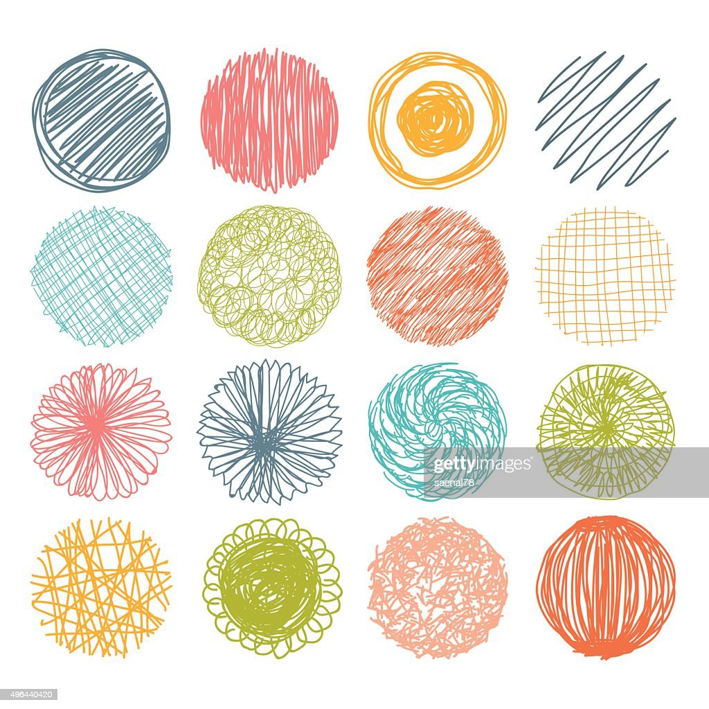 Set of hand drawn scribble circles. Vector design elements.