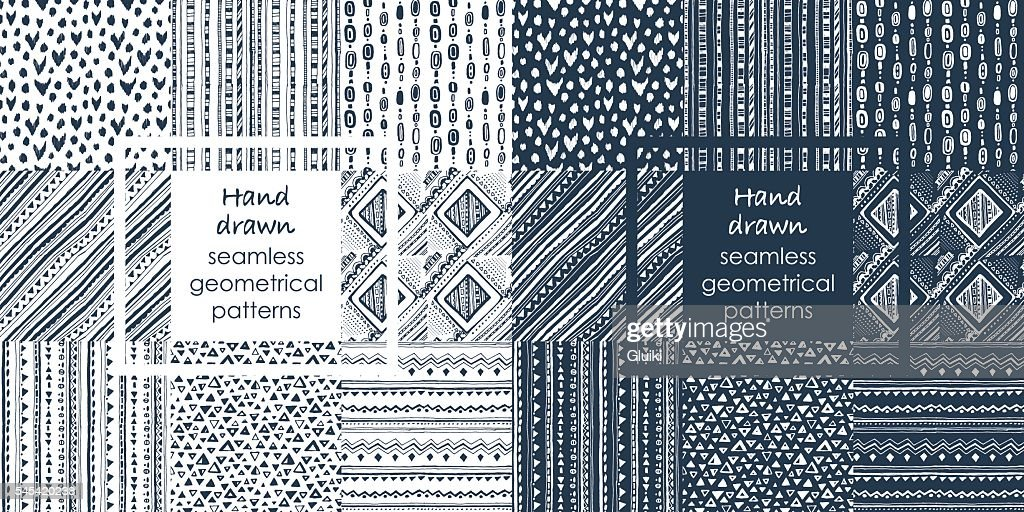 Set of hand drawn seamless geometrical patterns.