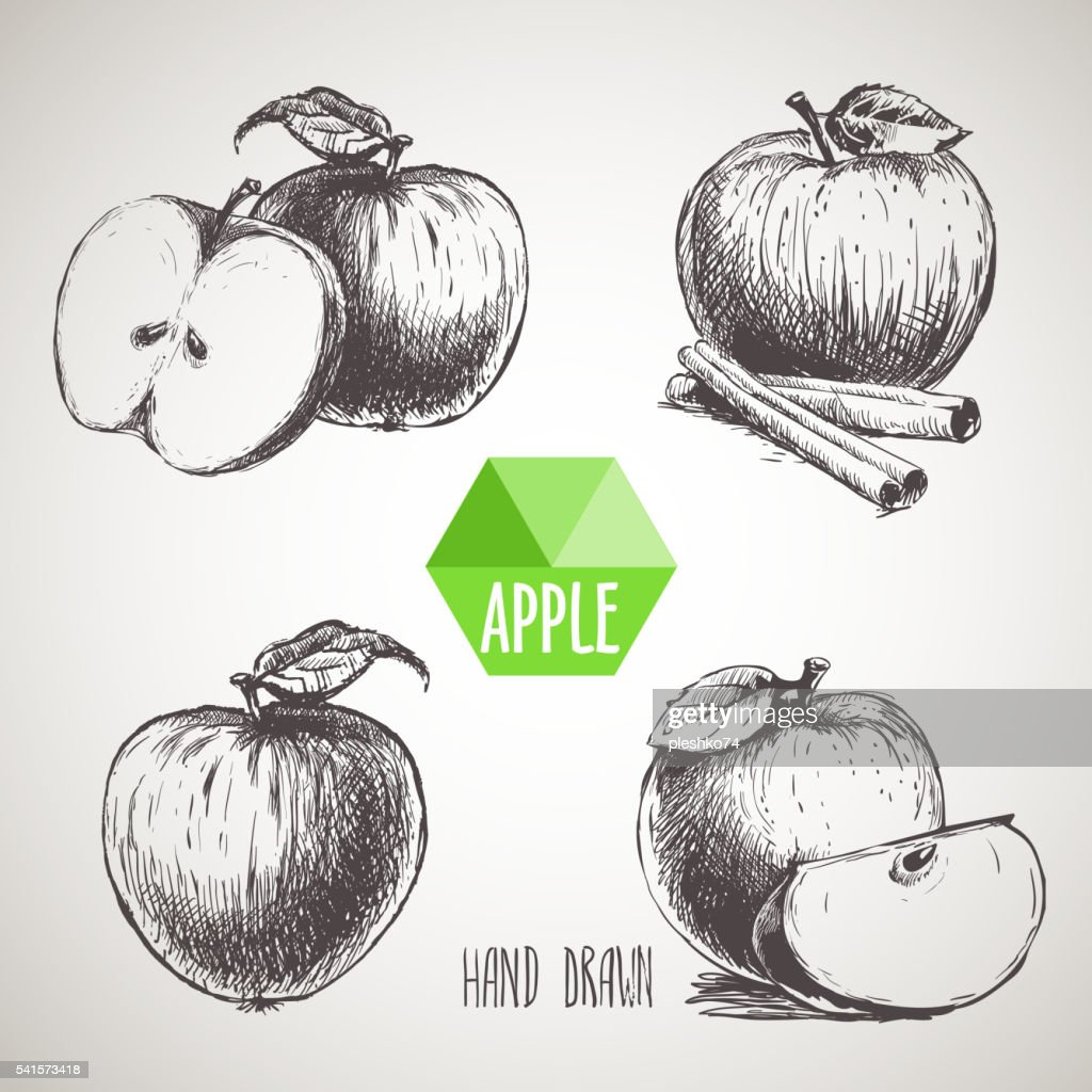 Set of hand drawn sketch apples.