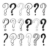Set of hand drawn Sketch question marks. Vector illustration.
