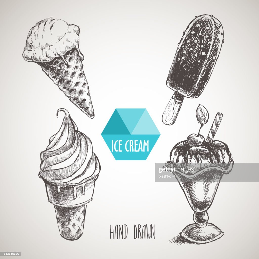 Set of hand drawn sketch style ice cream.