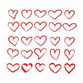 Set of hand drawn sketchy red heart icons design elements for Valentine's day. Vector illustration