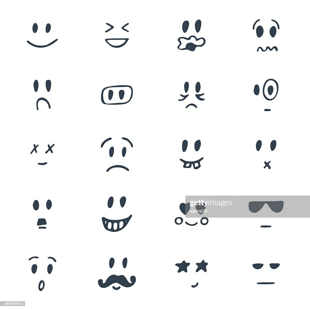 Set of hand drawn smiley faces. Sketched facial expressions set