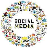 Set of Hand Drawn Social Media Objects. Signs and Symbols Doodles Elements in Circle.