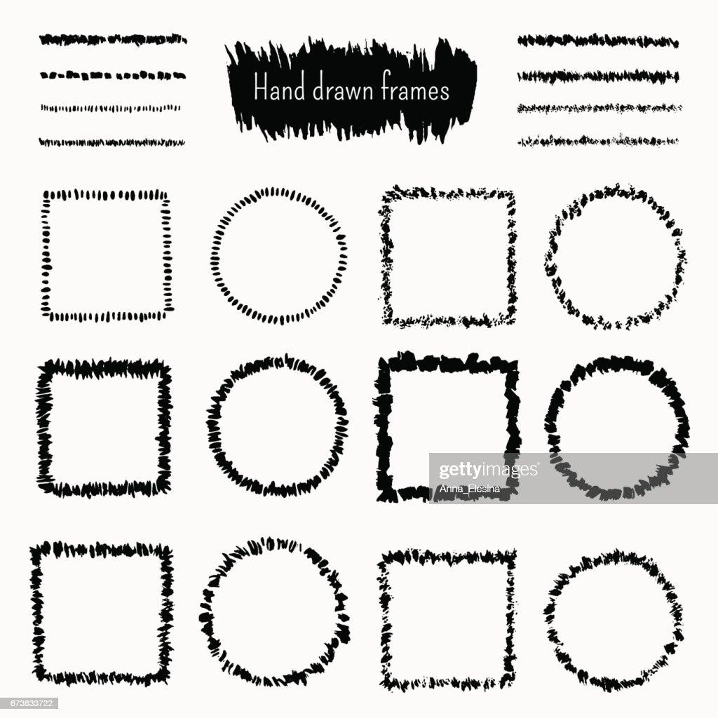 Satz Von Hand Gezeichnete Quadrat Und Runde Doodle Rahmen ...