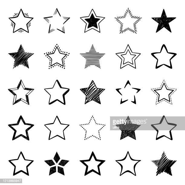 illustrazioni stock, clip art, cartoni animati e icone di tendenza di set of hand drawn star icons - a forma di stella