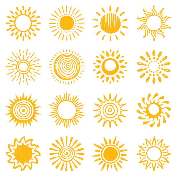 set of hand drawn sun icons - swirl stock illustrations
