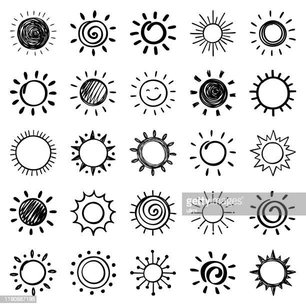 stockillustraties, clipart, cartoons en iconen met set hand getekende zon pictogrammen - zon