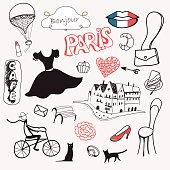set of hand drawn symbols of Paris