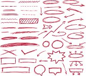 Set of hand drawn text correction elements.