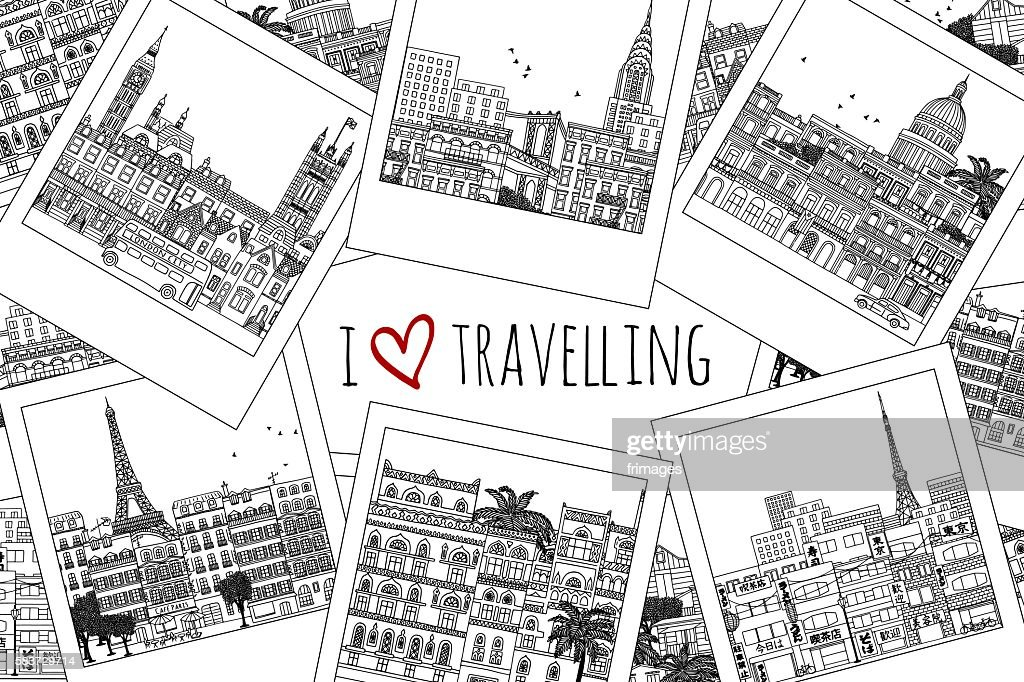 Set of hand drawn travel photographs