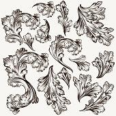 Set of hand drawn vector filigree swirls for design