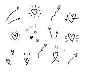 Set of hand drawn vector hearts.