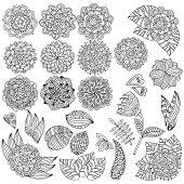 Set of hand drawn vector mandalas, flowers, leaves.