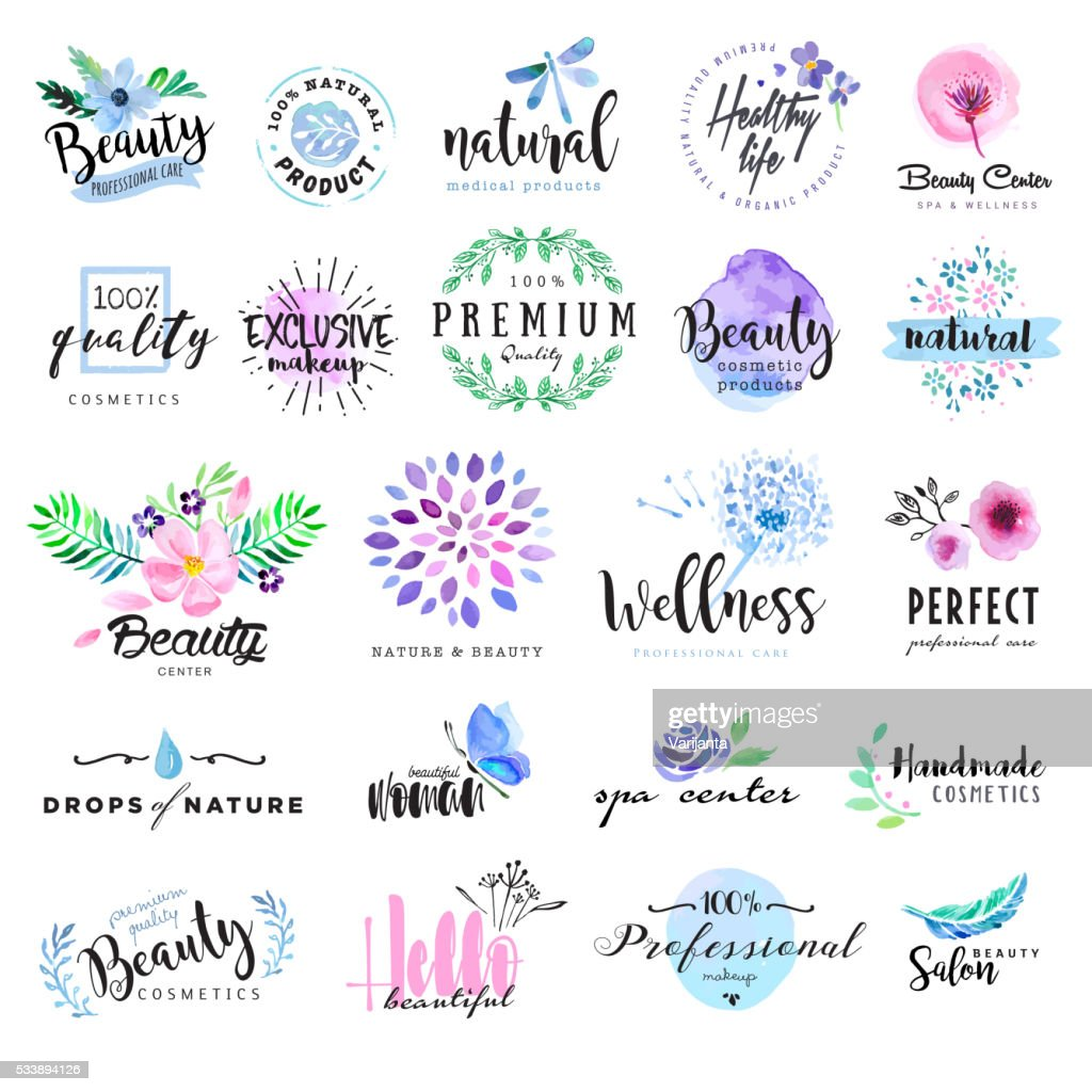 Set of hand drawn watercolor labels and badges for beauty
