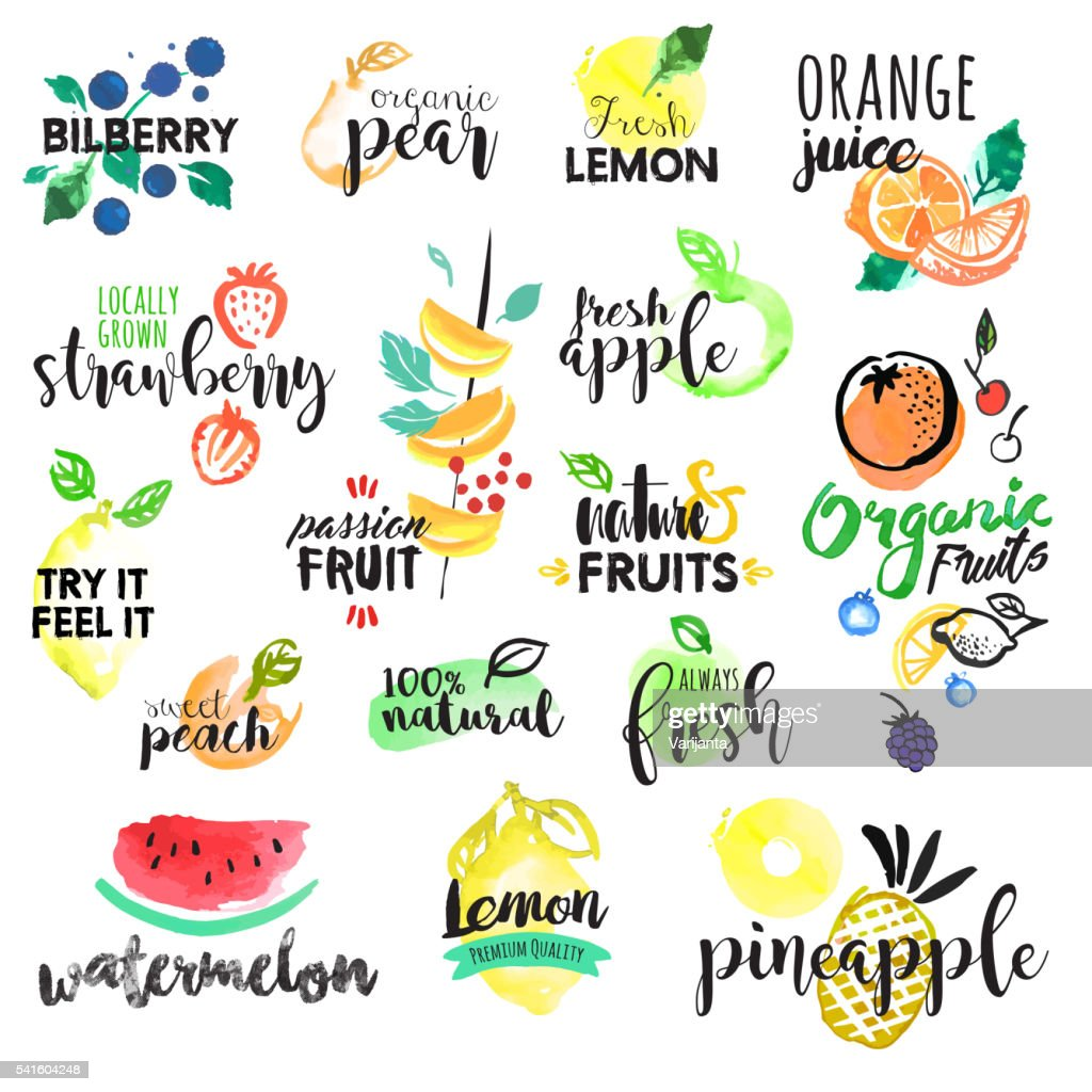 Set of hand drawn watercolor labels and stickers of fruit