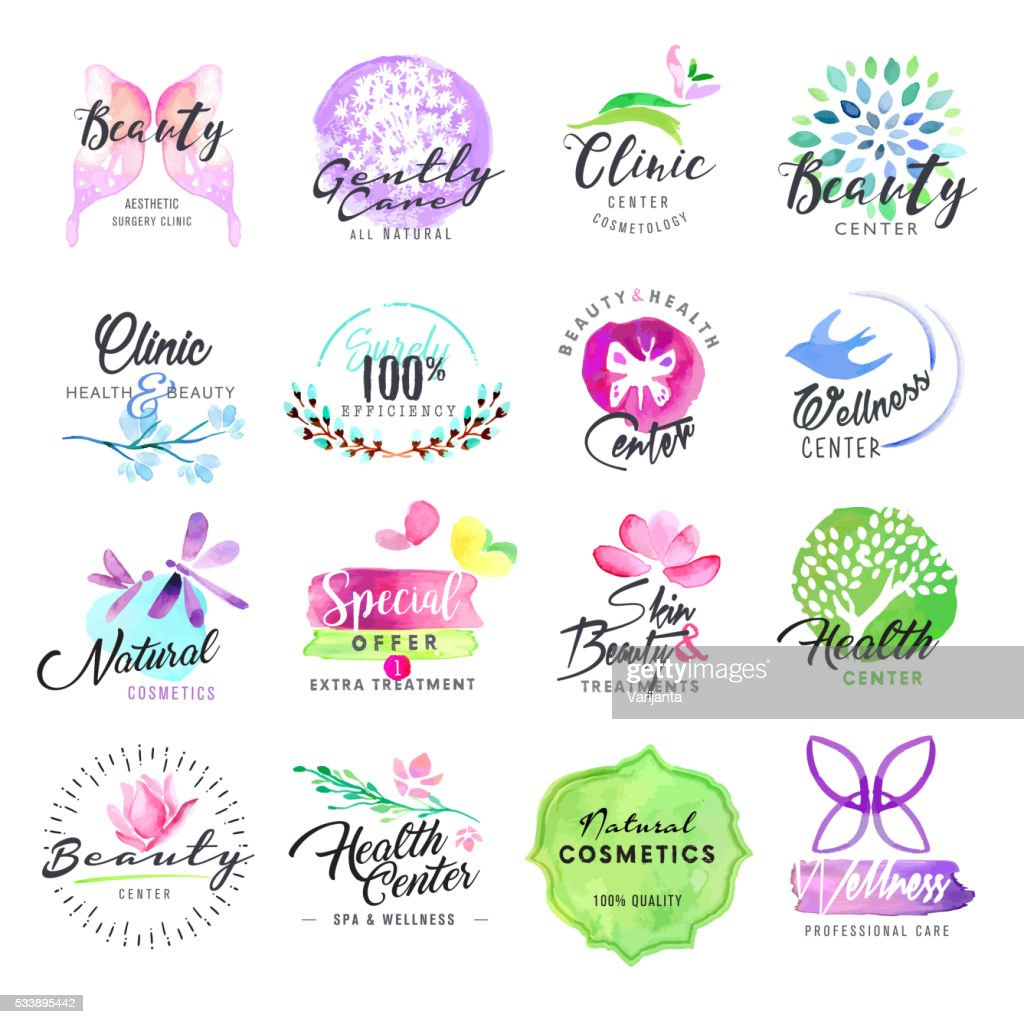 Set of hand drawn watercolor labels for beauty and cosmetics