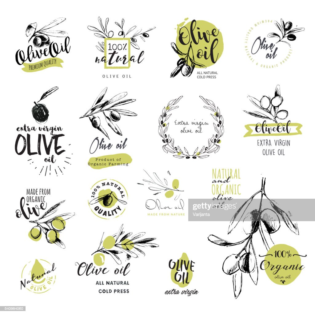 Set of hand drawn watercolor olive oil stickers and badges