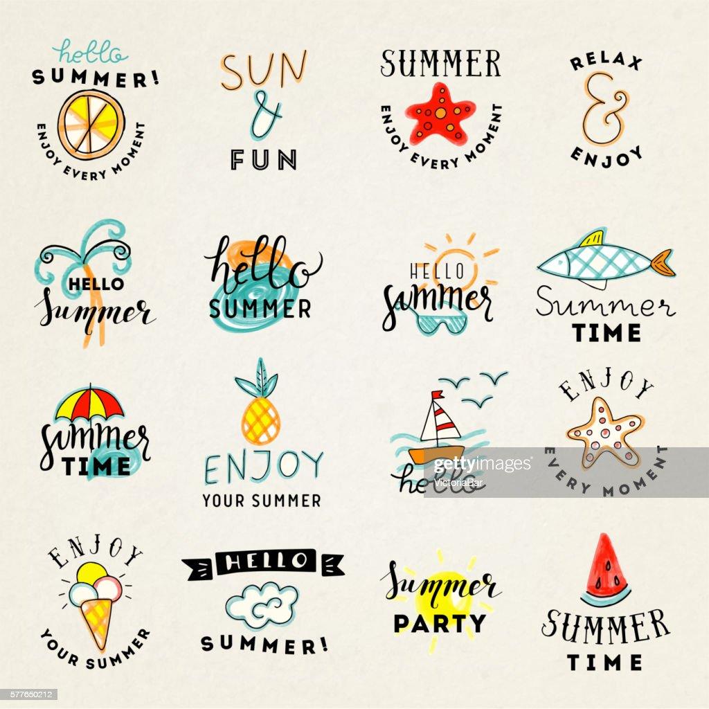 Set of hand drawn watercolor summer emblems.