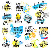 Set of hand drawn watercolor summer signs