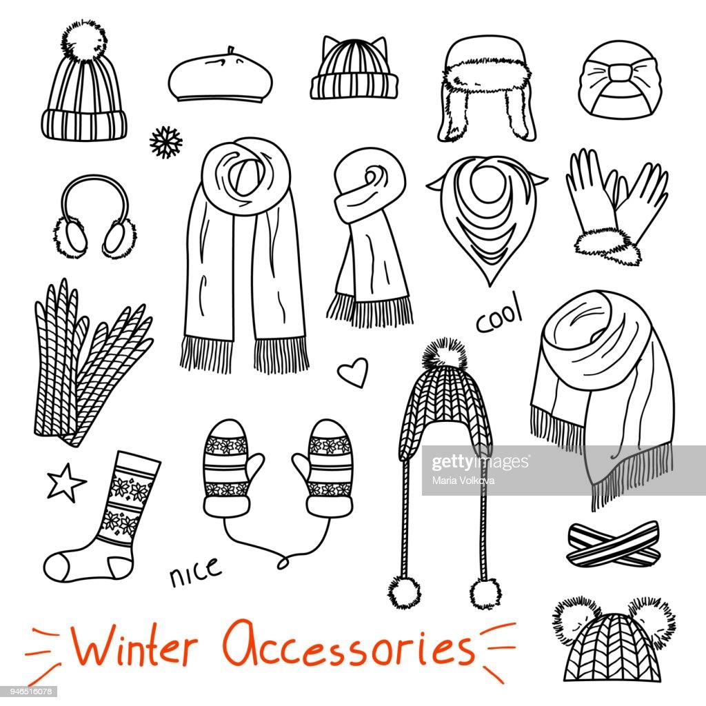 Set of hand drawn women accessories. Winter
