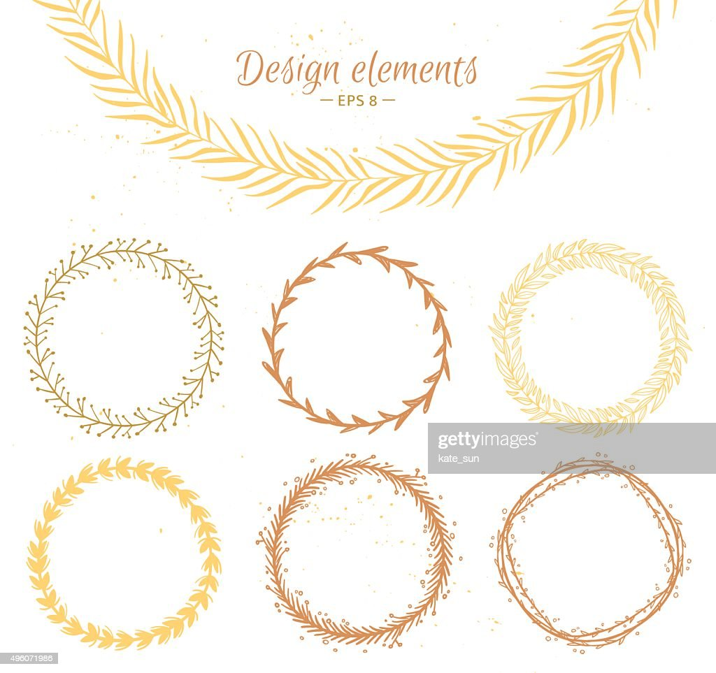 Set of hand drawn wreaths. Design elements  for invitations