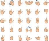 Set of hand emoticon