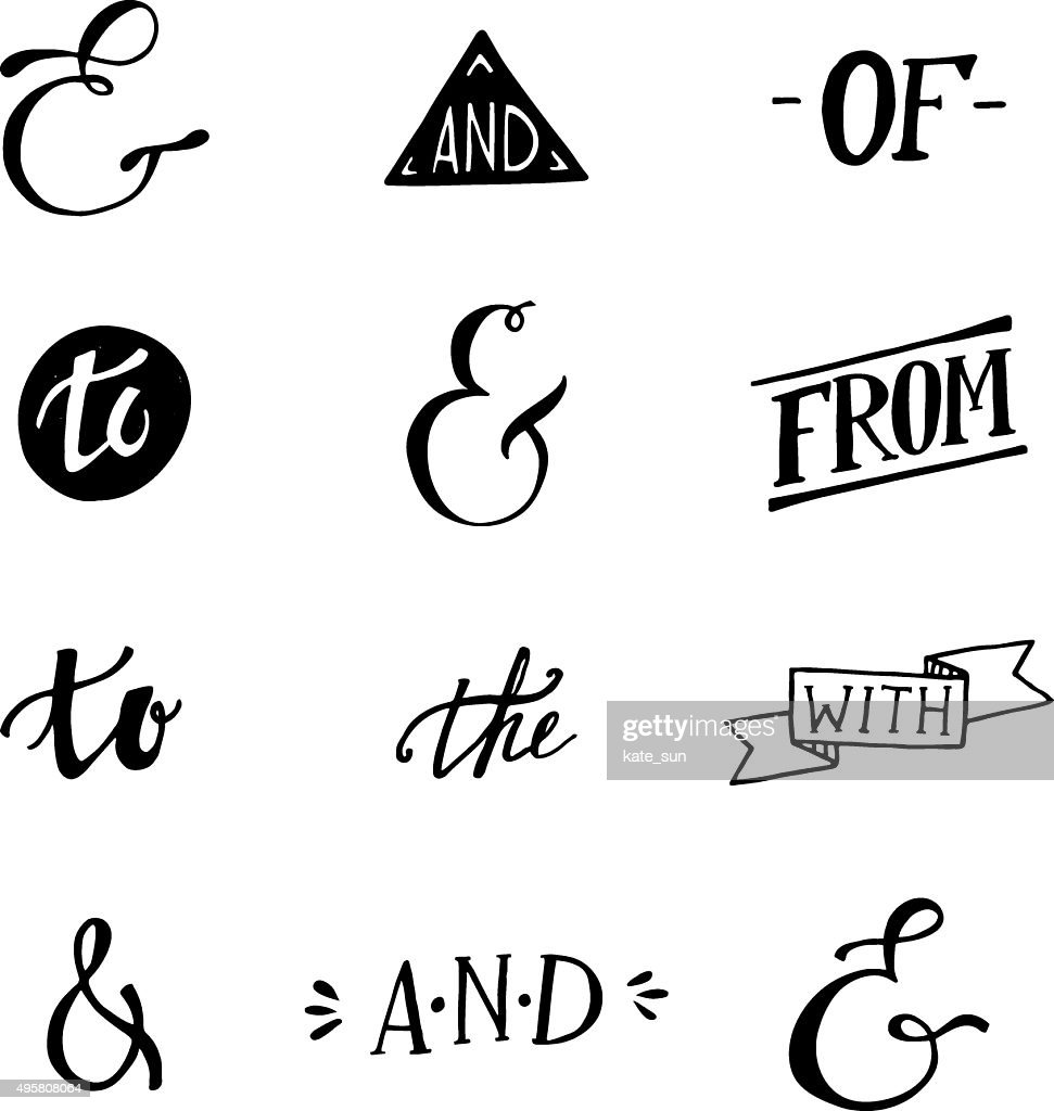 Set of hand lettered ampersands and catchwords
