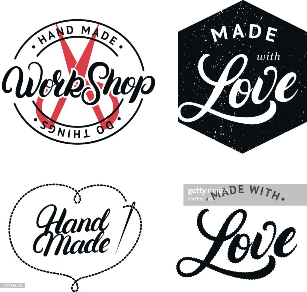 Set of hand made hand written lettering label, badge, emblem.