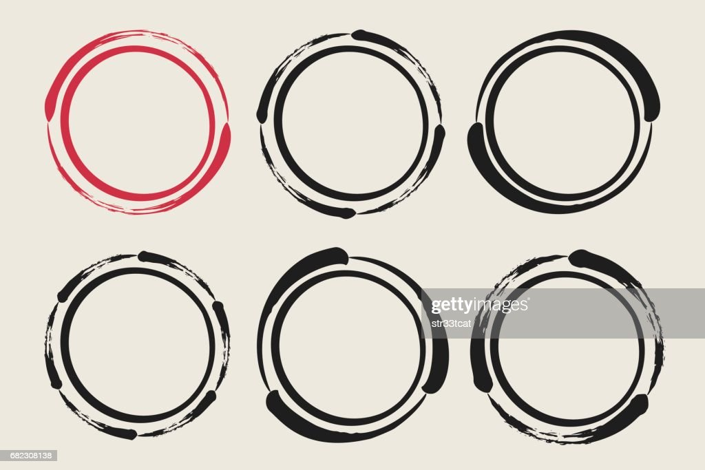 Set of hand painted ink circles