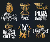 Set of hand written Christmas phrases. Vector hand drawn illustrations of New Year toys and Nativity symbols.