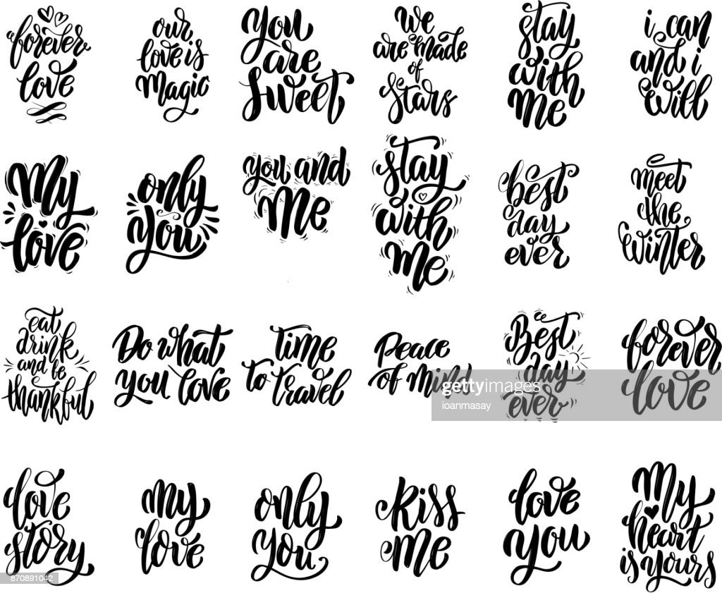 Inspirational Slogans Set Of Hand Written Lettering Motivational Quotes Inspirational