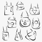 set of handbags