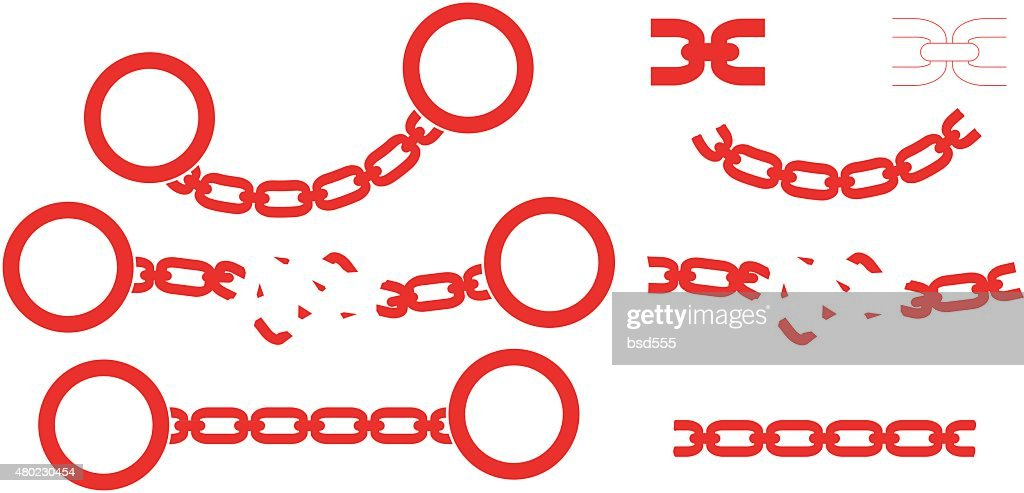 Set of handcuffs, chains and chain brush. Silhouettes