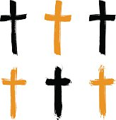 Set of hand-drawn black and yellow grunge cross icons