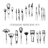 Set of hand-drawn brushes for painting isolated on white background