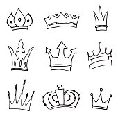 Set of hand-drawn crowns